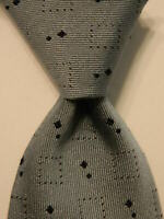 ERMENEGILDO ZEGNA Men's 100% Silk Necktie ITALY Luxury Geometric Blue/Brown EUC