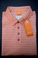 NWT Hugo Boss Orange Men's GR-Palwo Medium Pink Striped Cotton Polo Shirt XL