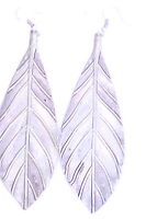 Large vintage style silver coloured leaf dangle earrings