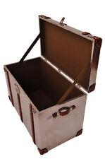 Vintage Leder Design Aufbewahrung Klassiker Truhe Bradford Aluminium