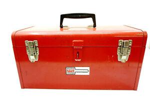 "Vintage WATERLOO Tool box w/ Tray 18"" Steel Red Mechanics toolbox Model 1800"