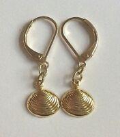 Gold Scallop Shell Sea Life Earrings Dainty Dangle Island Beach Pierced Plated
