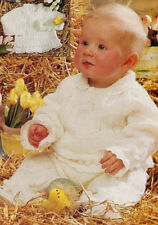 "Baby Collar Sweater & Trousers Bobble Lace Trim 16"" - 22"" DK Knitting Pattern"