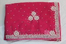 Bollywood Indian Pearl Work Designer Hand Crafted Saree Sari Bridal Party Dress