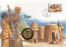 superbe enveloppe TOGO pièce monnaie 5 frs 1987 NEW NEUVE UNC timbre