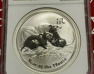 2008 P AUSTRALIA $1 LUNAR YEAR OF THE MOUSE 1 OZ SILVER COIN NGC MS 68 GRADE