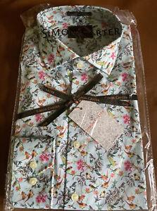Simon Carter Ornate Bird Print Shirt Size 16 - Brand New Slim Fit