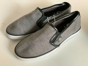NEW! GUESS MALDEN GRAY BLACK SLIP-ON JERSEY SNEAKERS SHOES 5.5 36 $55 SALE
