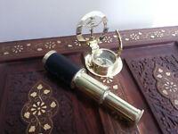 Brass Telescope Leather Grip Brass Sundial Compass Maritime Gift