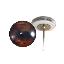 Pair of 12mm Brown Horse Glass Eyes on Wire Pin Posts for Felt Doll Making