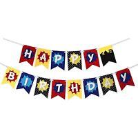 Happy Birthday Bunting Banner Garland Superhero Birthday Party Decoration