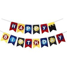 Happy Birthday Bunting Banner Garland Superhero Birthday Party Decoration