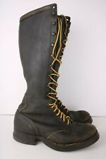 """Vintage 1940s 16"""" Mens Chippewa Logger Boots 7.5EE SeIberling Motorcycle Leather"""