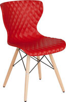 Mid-Century Modern Design Accent Dining Chair in Red Finish with Wood Base