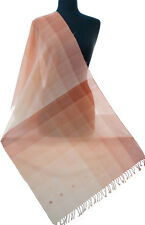 """Hand Woven Cotton Shawl in Ombre Shades of Orange 83"""" x 23"""" Colorful Scarf"""
