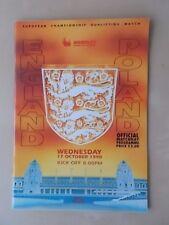 ENGLAND v POLAND OCTOBER 17th 1990 - EURO QUALIFIER - VGC PROGRAMME