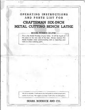 Craftsman 101.07301 Six Inch Metal Cutting Bench Lathe Instructions