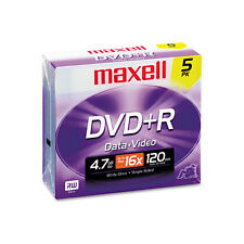 Maxell DVD+R Discs, 4.7GB, 16x, w/Jewel Cases, Silver, 5/Pack, PK - MAX639002