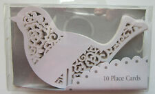 Pack of 10 BIRD PLACE CARDS | Place on Glasses | Wedding | White