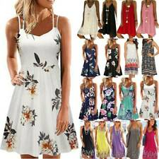 Damen Blumen Mini Kleid Trägerkleid Tunika Sommerkleid Strandkleid Blusenkleid