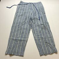 Crazy Horse Liz Claiborne Linen Blend Blue Yellow Stripe Crop Pants Sz 10 A1812