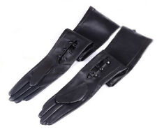 """women wrist buttons 60cm(23.6"""")long real leather double leather lining gloves"""