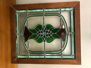 """Vintage Stained Glass Window w/Wooden Frame, 17 3/4"""" x 15"""" (Glass), 20 5/8"""" x 18"""