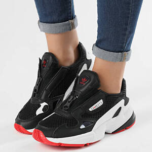 ADIDAS FALCON ZIP X FIORUCCI WOMEN'S CASUAL RUNNING SHOES BLACK/RED AUTHENTIC