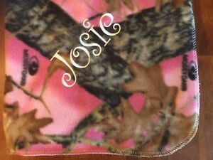 Pink Mossy Oak Camo Baby Toddler Blanket Can Be Personalized 28 x 44