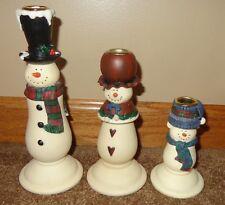 NICE PRIMITIVE VINTAGE POTTERY SNOWMAN FAMILY 3 PIECE CANDLE STICK HOLDER SET