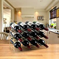 Neat-O 3 Tier 12 Bottle French Gold Wine Rack Tabletop Organizer Holder