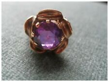 Vintage 10K Yellow Gold Ring with Synthetic Amethyst Stone--Sz 4.5