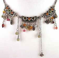 £55 Tribal Aztec Silver Orange Brown Pendant Necklace Swarovski Elements Crystal