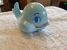 VINTAGE  ROLY POLY TOY  BLUE  WHALE WITH RED SMILE