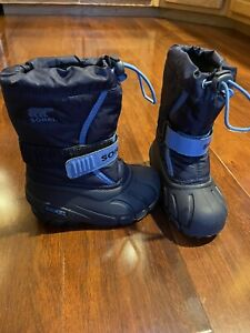 Sorel Toddler Size 8 Pac Strap Nylon Waterproof Boots Black White 1638011-010
