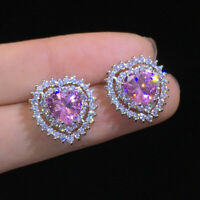 Luxury 925 Silver Heart Stud Earrings for Women Pink Sapphire CZ Wedding Jewelry