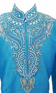 Mens Red Dupin  Silk Kurta Pajama Salwar Kameez Sherwani Indian Outfit GR1040