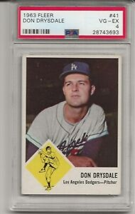 1963 FLEER # 41 DON DRYSDALE, PSA 4 VG-EX, SET BREAK - HOF, LOS ANGELES DODGERS