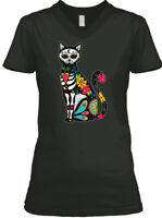 Dia De Los Muertos Cat Sugar Skull BELLA+CANVAS Women's V-Neck Tee