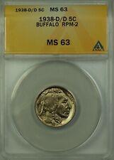 1938-D/D Buffalo Nickel 5c Coin ANACS MS-63 RPM-2 Better Coin