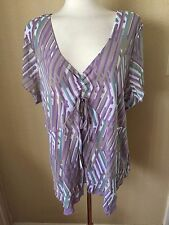 JJ Studio V Neck Mesh Top Plus Size 3X  Multi Color 100% Nylon Cap Sleeve