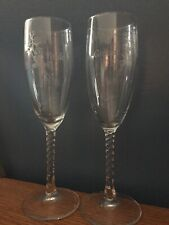 BRIDE & GROOM ETCHED CHAMPAGNE GLASSES TOASTING  FLUTES SET OF 2 VICTORIA LYNN