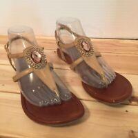 Lindsay Phillips Womens Meredith Thong Sandals Brown Embellished Flat Heel 8