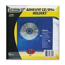 FELLOWES 5pk CLEAR ADHESIVE CD/DVD HOLDERS ( #98315) NEW DISC SLEEVES