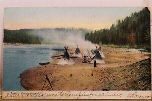 Indian Native American Encampment Postcard Old Vintage Card View Standard Postal