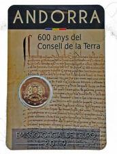 ANDORRA 2 euro 2019  carterita oficial  - 600 años del Consejo de Tierra
