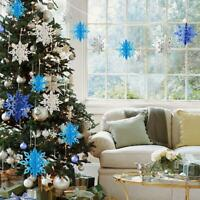 Christmas 3D Hollow Snowflake Hanging Pendant Decor Xmas New Year Party Ornament