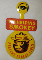 Smokey The Bear Prevent Forest Fires Vintage Tin Pin Badge Green Duck Co Chicago