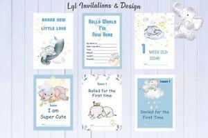 Baby Milestone Cards, Boys Dream Elephant, baby Shower Gift, New Mum, 40 Cards,