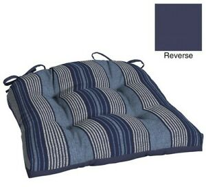 "Outdoor Wicker Seat Pad ~ Sailor's Stripe Blue Gray ~ 20"" x 18"" x 3.5"" **NEW**"